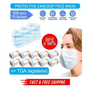 500 x HKSTW ProtectPlus 3-Ply Disposable Earloop Face Masks in 10 boxes - ARTG Registered