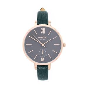 Hurtig Lane Amalfi Petite Vegan Leather Watch Rose Gold, Grey & Forest Green