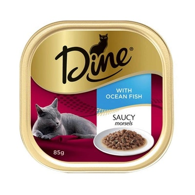 Dine Saucy Morsels Fish with Seafood Sauce Cat Food 14 x 85g