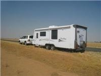 GSA  Jayco Sterling  and TD Toyota Sahara on road near Jerilderie NSW