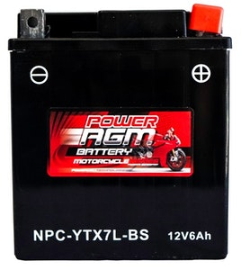Power AGM 12V 6AH 130CCAs Motorcycle Battery