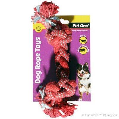 Pet One Dog Toy Braided Rope With Knots Red/Blue 20cm
