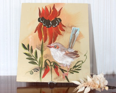 Sunbirds Design Original Small Acrylic Painting - South Australian No.1