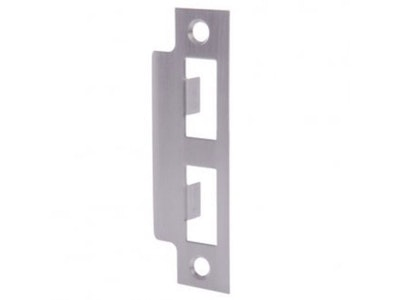 Brava Mortise Lock Strike Plate in Satin Chrome
