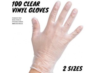 Boutique Medical 100pcs Clear Vinyl Disposable Examination Gloves Powder Free