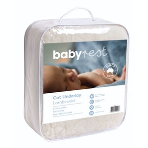 Babyrest Lambswool Cot Underlay. Large Cot up to 770 mm wide