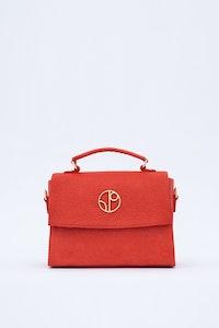 1 People London Piñatex® Saddle Bag in Red Cherry