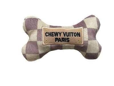 Haute Diggity Dog Chewy Vuiton Checker Bone Dog Toy