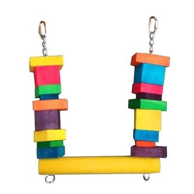 Cheeky Bird Block Swing Coloured Wooden Bird Toy