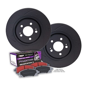 DIMPL SLOTTED FRONT BRAKE ROTORS + PADS for Mercedes W166 GLE250d 10/2015-5/2019