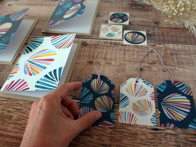 Greeting card set - Sunset seashells