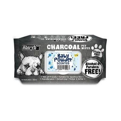 ABSORB PLUS Charcoal Pet Wipes Baby Powder 80 Sheets 20X15Cm
