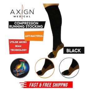 AXIGN Medical Compression Stockings Socks Travel Flight Circulation High - Black