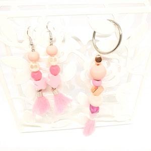 Rayhana's Store Sydney beaded tassel keyring and earing set pink