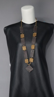PAMdesigned NEW 12 Rectangles Necklace. Copper and Oxidised Wire 2021