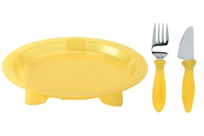 Steadyco Lets Eat Plate Knife & Fork Yellow