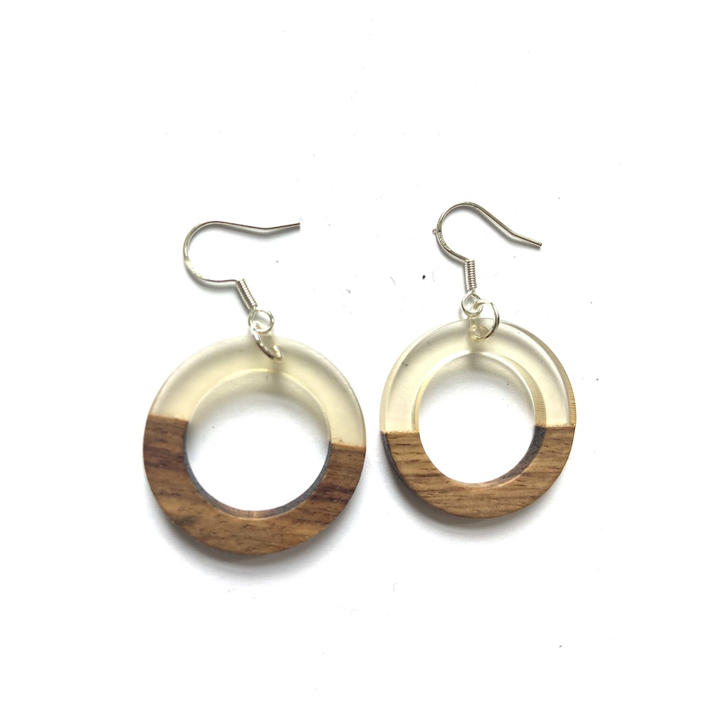 One of a Kind Club Translucent And Wood Circle Edge Earrings