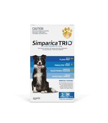 SIMPARICA TRIO 10.1kg - 20kg Dog Flea, Tick & Worm Chew