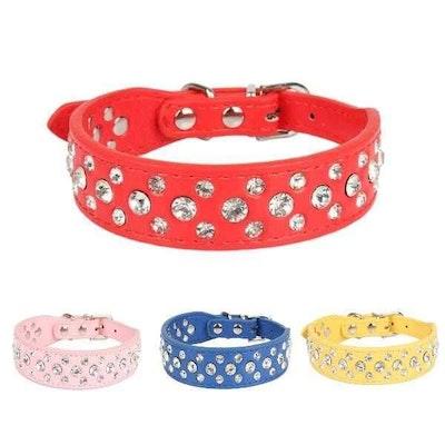 Big & Little Rhinestone studded Dog Collar