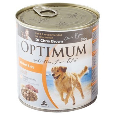 Optimum Dog Adult 1+ Years Food With Beef & Rice Tins 700g 12 Pack