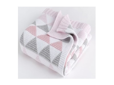 Spotty Giraffe Cot Blanket 100% Cotton double knit - PINK TRIANGLE