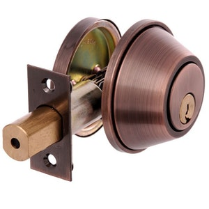 Brava Urban D391B Heavy Duty Single Cylinder Dead Bolt with Inner Turn in Antique Copper Finish