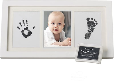 Bubzi co Beautiful Baby Handprint Kit & Footprint Photo Frame for Newborn Girls and Boys, Unique Baby Shower Gifts Set for Registry, Memorable Keepsake Box