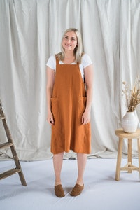 Crossback Tunic - Ochre Antique Washed Linen