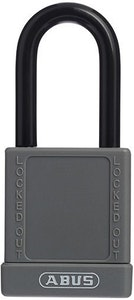ABUS 74/40 Lock Out Tag Out (LOTO) lightweight aluminium padlock with grey vinyl encased body keyed to differ