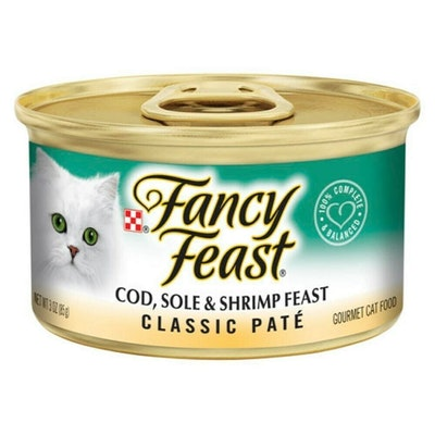 Fancy Feast Classic Pate Wet Cat Food Cod Sole & Shrimp Feast 24 x 85g