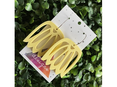 Lemon Drop Hoop Statement Earrings. Made from Matte Pastel Lemon Acrylic.