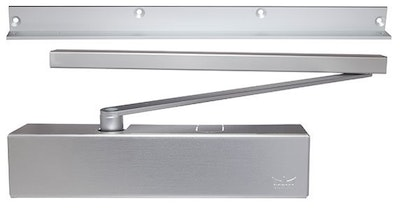 dormakaba TS93G heavy duty door closer EN1-5 with slide arm & arm angle mount bracket (Push side) in silver