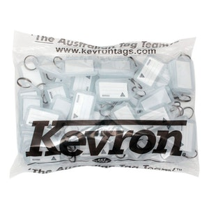Kevron ID5 Easy Opening Plastic Key Tags – 50 Pack – Clear