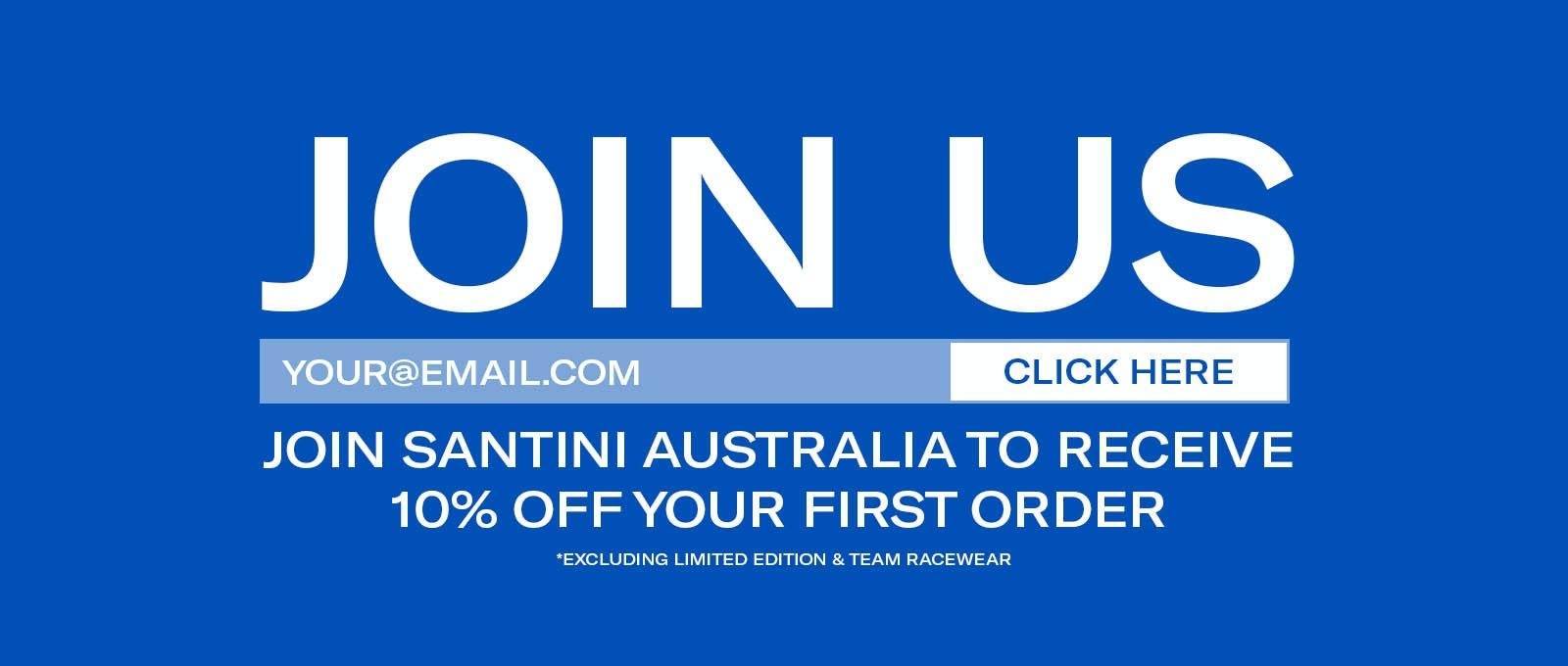 Join Santini Australia and receive 10% off your first order