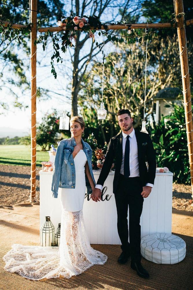 LENZO Boho Byron Bay Wedding Couple Denim Jacket