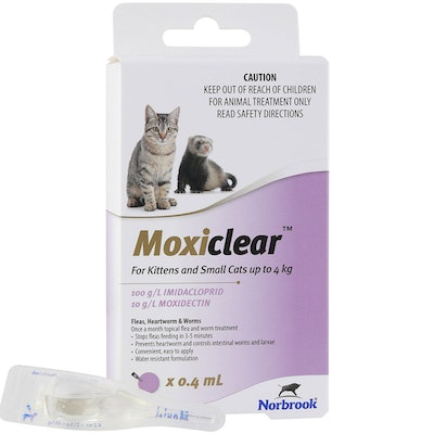 MOXICLEAR Fleas & Worms Treatment for Kitten & Small Up to 4kg Purple - 2 Sizes