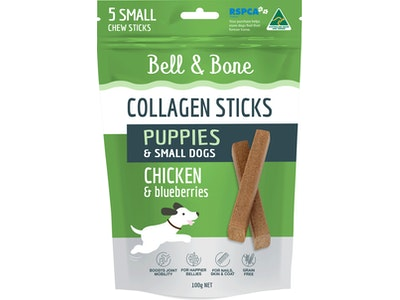 Bell and Bone Collagen Sticks for Puppies: Chicken and Blueberries