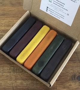 Eco Crayons Colour Box: 100% Natural Plant Based Crayons. Box of 6