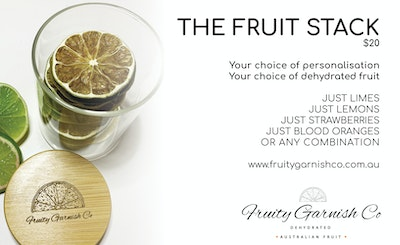 Fruity Garnish Co Dehydrated Fruit Stack - In a glass jar
