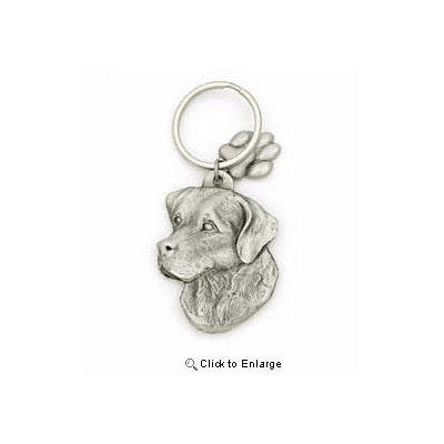 Key Companions Solid Fine Pewter Labrador Retriever Dog  with Paw Keychain