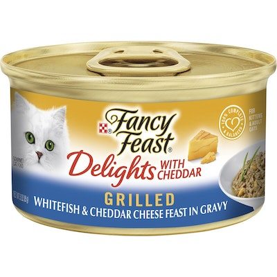 Fancy Feast Delights With Cheddar Grilled Whitefish & Cheddar Cheese Feast In Gravy 85g