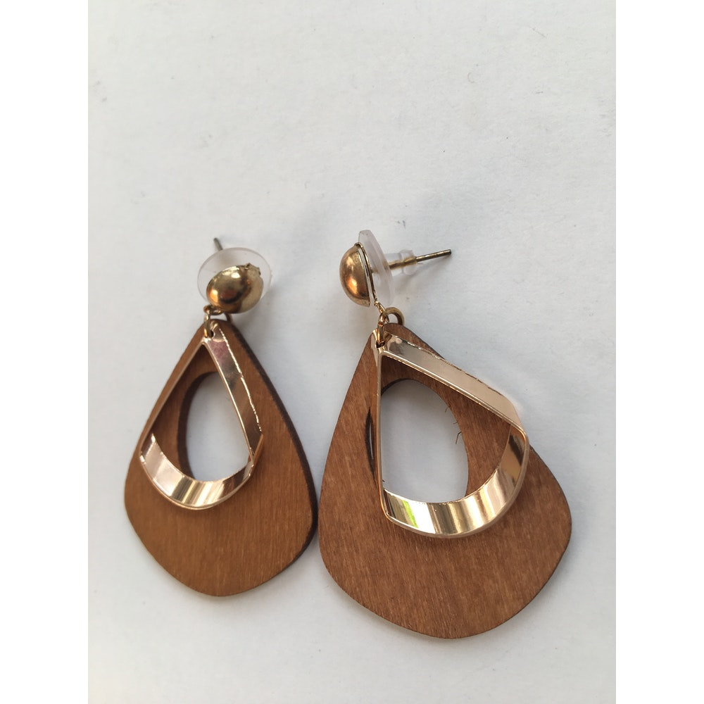 One of a Kind Club Brown And Brass Dangle Earrings