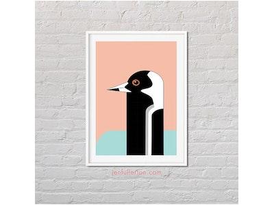 Jen Fullerton Art and Design Magpie – native Australian bird art A4