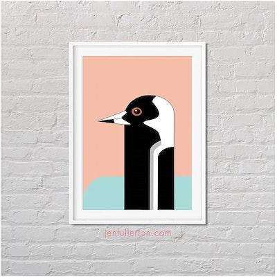 Jen Fullerton Art and Design Magpie – native Australian bird art A5