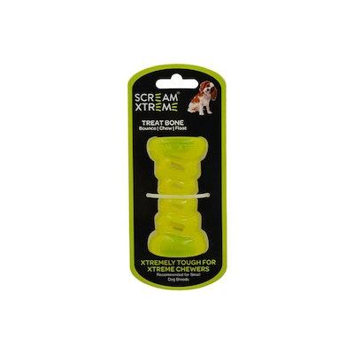 ScreamPet Scream Xtreme Treat Bone Treat Dispensing Dog Toy Loud Green - 3 Sizes