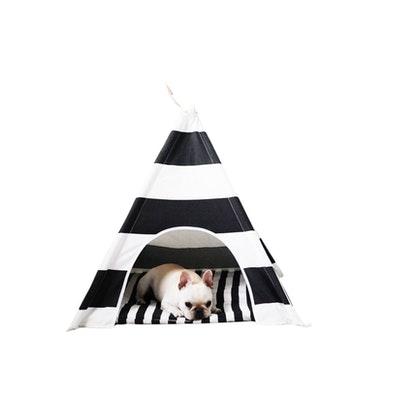 House of Pets Delight Black & White Stripe Teepee With Mat