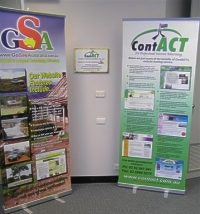 GoSeeAustralia and ContACT banners frame the new company plaque
