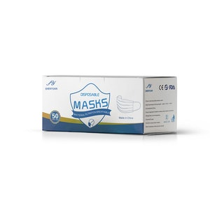 Protective Face Masks - Universal Fit 3Ply Disposable (50 Pack)