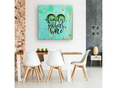 """Art Of A Kind Family Gathers Here Inspirational Canvas Wall Decor 24x24"""""""