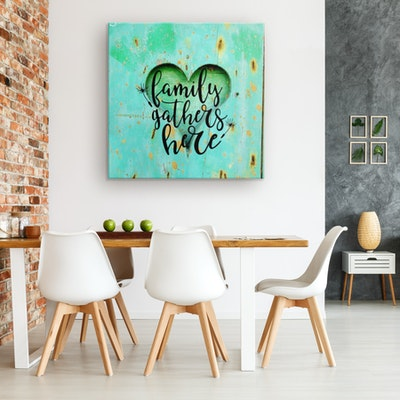 """Art Of A Kind Family Gathers Here Inspirational Canvas Wall Decor 16x16"""""""